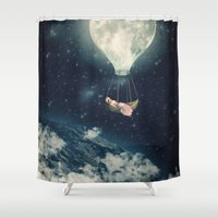 The Moon Carries Me Away Shower Curtain