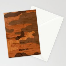 Modern Woodgrain Camouflage / Woodland Print Stationery Cards