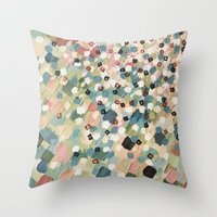 SWEPT AWAY 4 - Lovely Shabby Chic Soft Pink Ocean Waves Mermaid Splash Abstract Acrylic Painting Throw Pillow