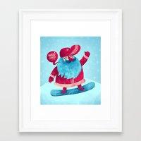 Snowboard Santa Framed Art Print