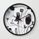 ink flowers Wall Clock
