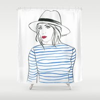 Stripes & Red Lips Shower Curtain