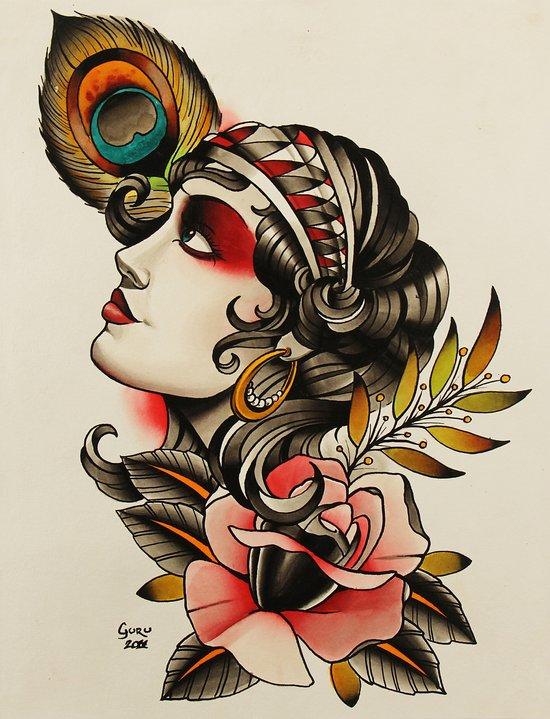 Gipsy girl - tattoo Art Print