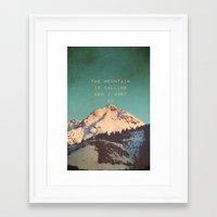 Framed Art Print featuring Mountain Is  Calling by SUNLIGHT STUDIOS  Monika Strigel