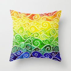 Rainbow Water Waves Throw Pillow