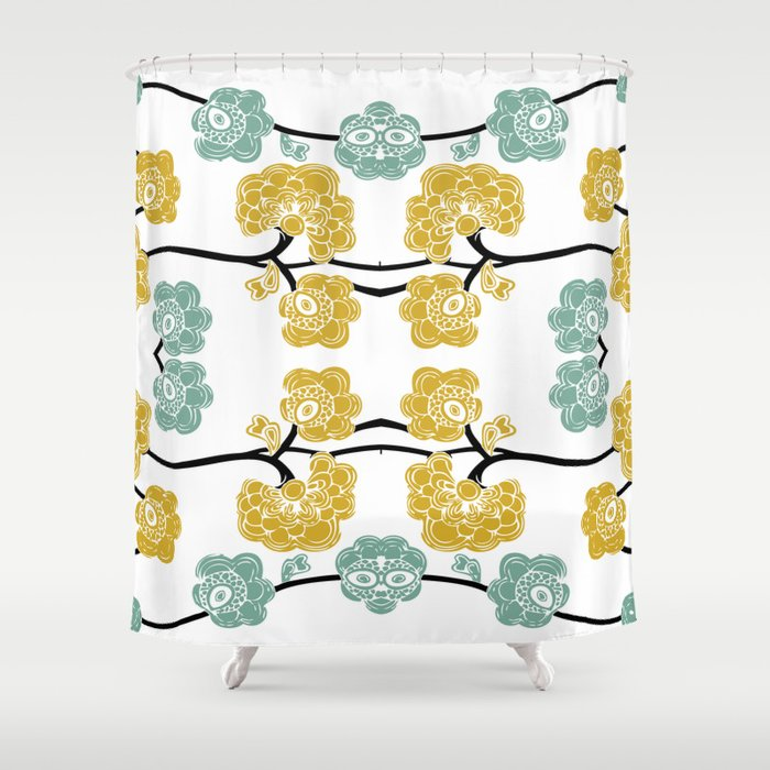 Teal And Yellow Flowers Shower Curtain By Jaymee Society6