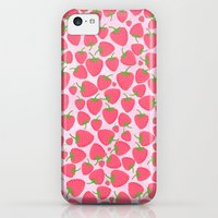 iPhone 5c Cases featuring Strawberry Sweet Minis - Pink by Lisa Argyropoulos
