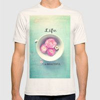 Beautiful Mens Fitted Tee Natural SMALL
