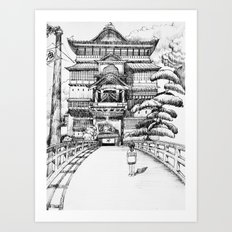 Spirited Away Bathhouse Art Print