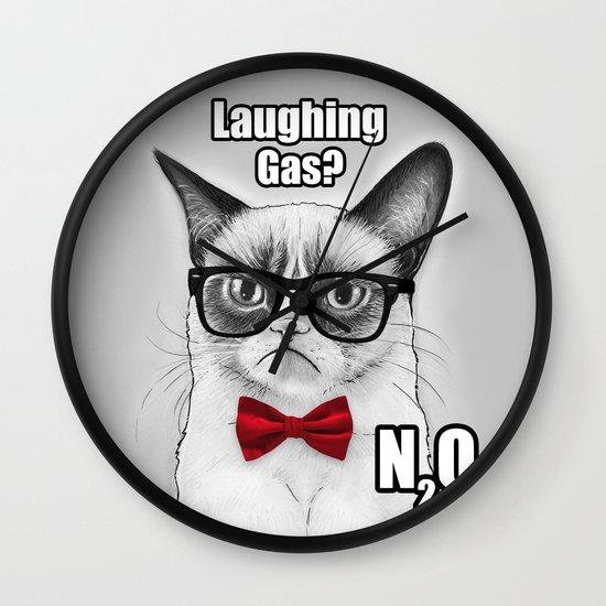 Grumpy Chemistry Cat Wall Clock