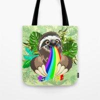 Sloth Spitting Rainbow Colors Tote Bag