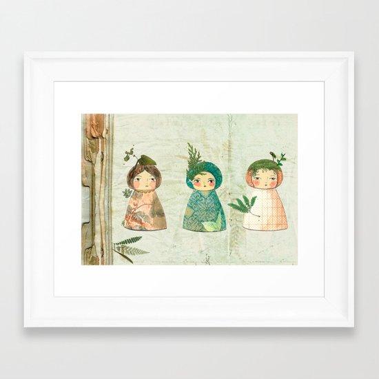 Herbs paperdolls Framed Art Print