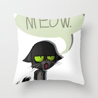 Mean Cat Throw Pillow