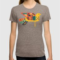Century Bird Womens Fitted Tee Tri-Coffee LARGE