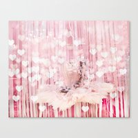 Paris Pink Ballerina Tutu With Hearts Canvas Print