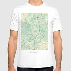 Madrid Map Blue Vintage SMALL White Mens Fitted Tee