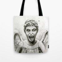 Weeping Angel Watercolor Tote Bag