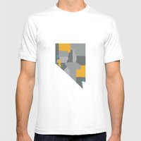 Nevada State Map Print Mens Fitted Tee White SMALL