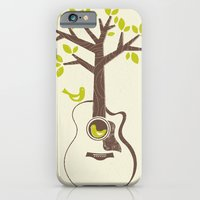iPhone & iPod Case featuring Birds & Acoustic Guitar by Jenny Tiffany