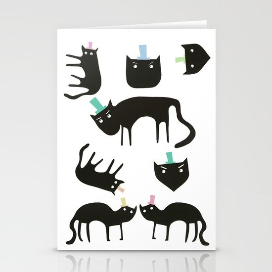 Little cats in colourful hats Stationery Card