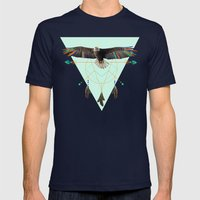 The Indian Eagle Is Watc… Mens Fitted Tee Navy SMALL
