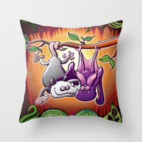Opossum And Bat In Love Throw Pillow