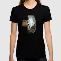 Flatfish And Mushrooms. Womens Fitted Tee Black SMALL