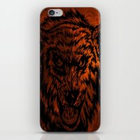 angry wolf fire iPhone & iPod Skin