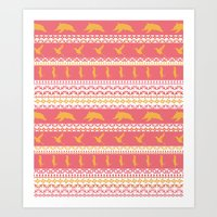 AZTEC Animal Parade Art Print