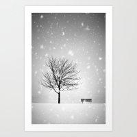 Winter Tree and Bench Art Print
