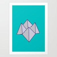 Paku Paku, Navy Lines On… Art Print