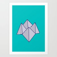 Paku Paku, navy lines on turquoise Art Print