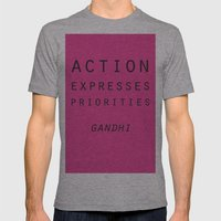 Action Gandhi Quote Mens Fitted Tee Athletic Grey SMALL