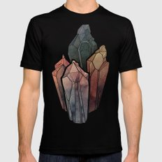 Dark Watercolor Crystals Mens Fitted Tee Black SMALL