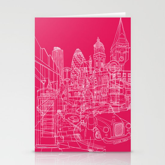 London! Hot Pink Stationery Card