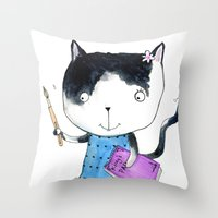 Creative Mono Cat  Throw Pillow