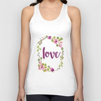Floral Wreath Watercolor - Love - by Sarah Jane Design Unisex Tank Top