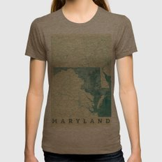 Maryland State Map Blue Vintage Womens Fitted Tee Tri-Coffee SMALL