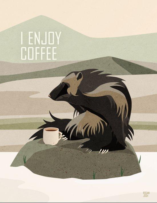 Wolverine Enjoys Coffee Art Print