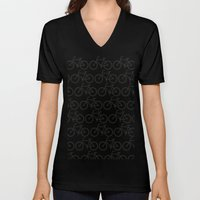 Bicycle Stamp Pattern - Black and White - Fixie Fixed Gear Bike Unisex V-Neck