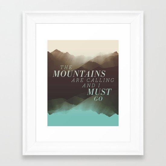 Mountains - Color Framed Art Print