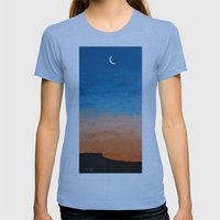Pre-Dawn Moonrise, Paint… Womens Fitted Tee Athletic Blue SMALL