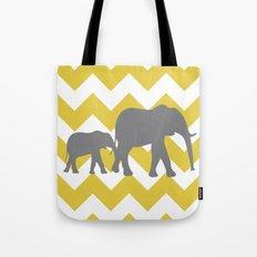 Chevron Elephants (yellow and grey) Tote Bag