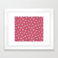 Indian Baby Elephants in Pink Framed Art Print