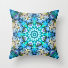 Into the Blue Kaleidoscope Throw Pillow