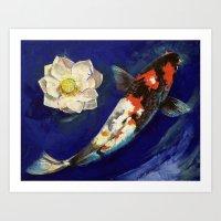 Showa Koi and Lotus Flower Art Print