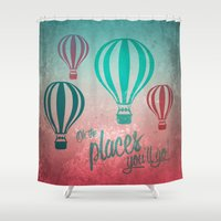 Oh, the Places You'll Go - Coral & Teal Shower Curtain
