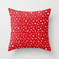 White stars abstract on bold red background illustration Throw Pillow