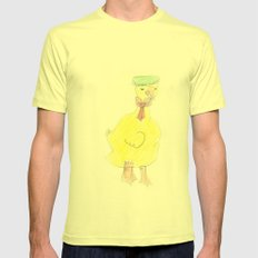 Childhood Drawings (Duck) Mens Fitted Tee Lemon SMALL