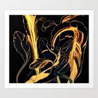 Plant In Blue Marker - L… Art Print
